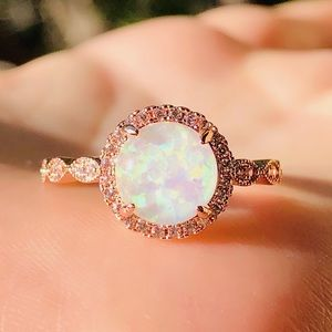 New rose gold fire opal ring